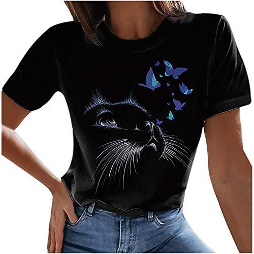 Tshirt Damen Kurzarm Sommer Oberteile 3D Katze Drucken Tee Tops Casual Frauen Rundhals Basic Shirts Sweatshirt Pullover Teenager Tshirts Bluse Hemd Tunic Tunika Fitness Sport Tops