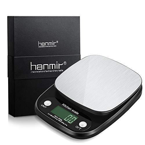 Báscula Digital de Cocina hanmir Peso de Cocina 3 Kg/ 0.1g, Alta precisión, Acero Inoxidable, Pantalla LCD, balanza de Cocina, Negro(Baterías Incluidas)