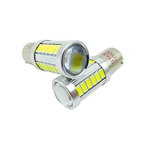 JAYUN 2 pcs 12 V 1156 BA15S P21W 1141 7056 5630 33-SMD Ampoule Super Lumineux LED Turn Tail Frein Stop Signal Lampe de Lumière, Blanc