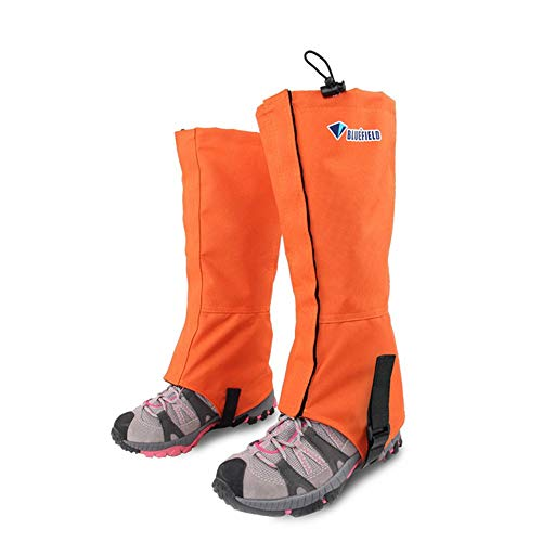 FANGHUA Outdoor Gamaschen, 1 Paar wasserdichte Atmungsaktive Bein Gamaschen für Outdoor-Hosen zum Wandern, Klettern und Schneewandern Jagdorange-S