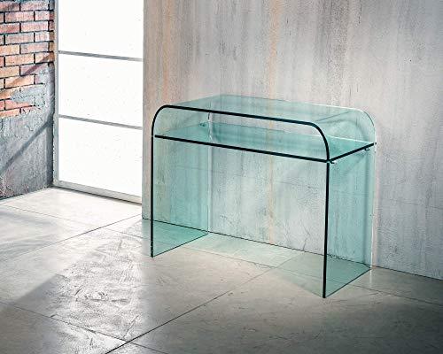 IMAGO FACTORY Rhapsody   Consola de salón con estante – Puente de cristal curvado, mueble de salón moderno, consola de cristal, mueble de entrada para objetos, diseño moderno