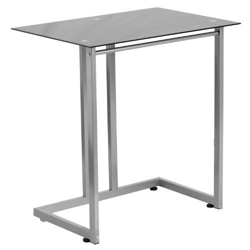 Flash Möbel gehärtetem Computer-Schreibtisch, Metall, Glas, Schwarz Top/Silber Rahmen, 77.47X 55,88x 10,2cm