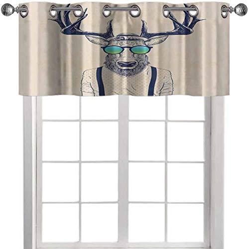 Cortina de cocina con diseño de ciervos vestidos como Cool Hipster Fashion Creative Fun Animal Art Print, 127...