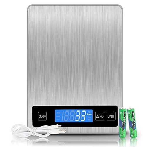 REEXBON Bilancia Cucina Digitale, 15 kg 33 lbs, Precisione 1g Bilancia Digitale da Cucina in Acciaio Inox con Funzione Tara, 5 Unita di Misura, Indicatore LED di caricare, Allarme Batteria Scarica