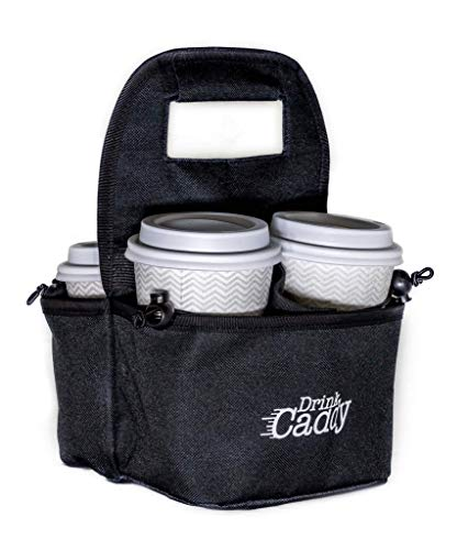 Drink Caddy Portable Drink Carrier and Reusable Coffee Cup Holder - 4 Cup Collapsible Tote Bag with...
