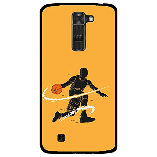 BJJ SHOP Funda Negra para [ LG K7 ], Carcasa de Silicona Flexible TPU, diseño : Jugador de Baloncesto regate