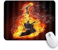 EILANNAマウスパッド Fire Cool Rock Rollミュージカルテーマのエレクトリックギター ゲーミング オフィス最適 高級感 おしゃれ 防水 耐久性が良い 滑り止めゴム底 ゲーミングなど適用 用ノートブックコンピュータマウスマット