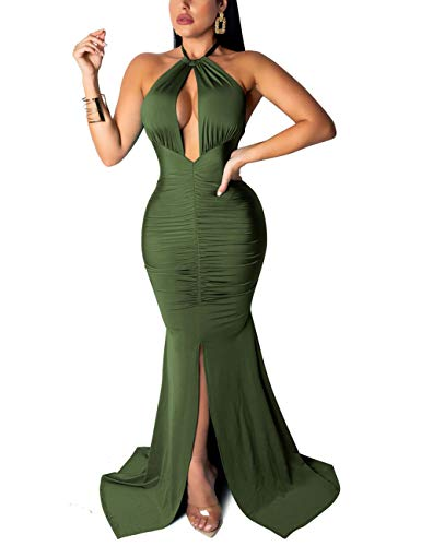 PARTY LADY Mermaid Dress Sexy Formal Long Mermaid Evening Prom Dress Size L Green