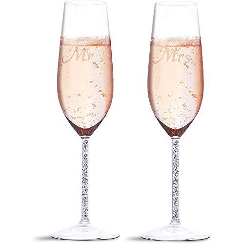 Juvale Champagnergläser Mr und Mrs (2 Gläser) - Graviertes Sektkelch-Set - Geschenkidee zur Hochzeit, Hochzeitsgeschenk - 4,5 x 7 x 24 cm