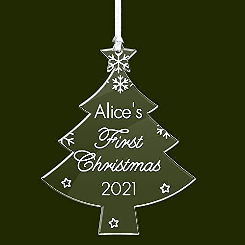 howson london Personalised Christmas Baubles Baby's First Christmas Decorations Babies 1st Xmas Tree Ornaments Custom Keepsake Acrylic Ornaments (Tree)