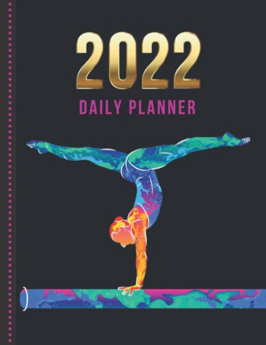 2022 Daily Planner: One Page Per Day Diary / Dated Large 365 Day Journal / Gymnast on Beam - Watercolor Digital Art on Black / Date Book With Notes ... Time Slots - Schedule - Calendar / Organizer