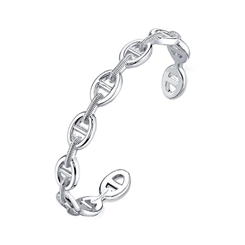CHARLIZE GADBOIS 925 Sterling Silver Buckle Link Cuff Bangle Bracelet, White Rhodium