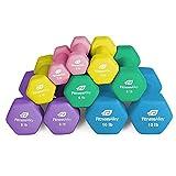 Fitness Alley Neoprene Dumbbell 5 Pairs Set Coated for Non Slip Grip - Hex Dumbbells Weight Set - Neoprene Hand Weight Pairs - Hex Hand Weights Neoprene Dumbbells Combo 2,4,6,8,10 lbs.