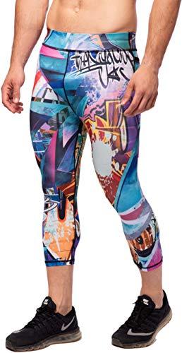 Kapow Männer 3/4 Performance Leggings mit Taschen - Kompressions-Hosen, Yoga Workout Laufen Gym Bunte Base Layer Sporthosen(Rev-X, Small)