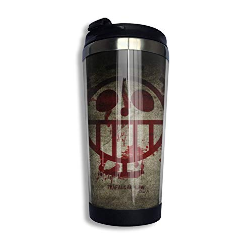 Vaso de acero inoxidable Vaso con aislamiento colorido Vaso con vaso de agua de doble pared Anime One Piece Trafalgar Law Face Co_V