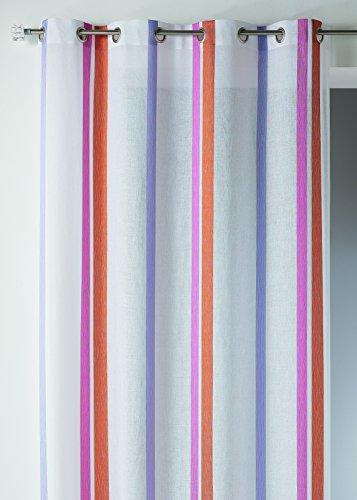 Home Maison HM6937298 Duschvorhang, Polyester, gestreift, Musselin, 150 x 260 cm, Mandarine