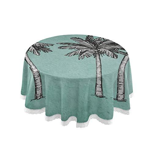 YUXB Mantel Manteles Redondos de Palma de Coco de 60\de Pulgada para Cubierta de Mesa Circular Pano de Mesa Pano de Mesa de Comedor Redondo de poliester Ideal para