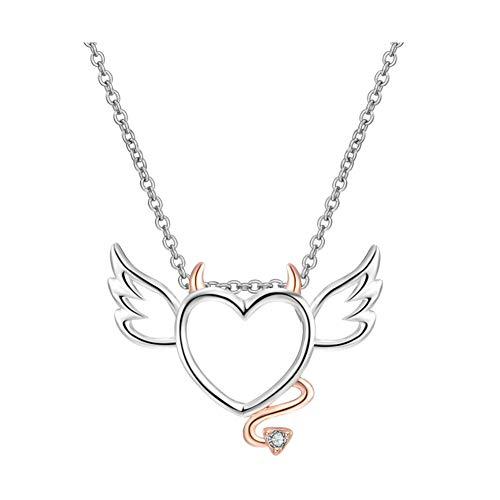 Ouken - Collar creativo con diseño de águila de ángel de amor y corazón, diseño de corazón, color blanco