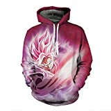 Zcbm 3D Sweater Print Unisex Apparel Pink Hooded Sweatshirt Dragon Ball Super Saiyan Black Goku ONE Piece Monkey D. Luffy Sports Outdoors Clothing Jumpers Top with Pocket,A,XL