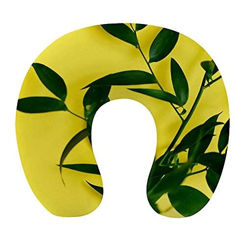 Almohada Viaje Cuello 30*29*10cm 100% Fibra de Poliéster Ultrafina Almohada Viaje Cervical Transpirable con Funda con Cremallera Cojin Cervical Viscoelástica de Espuma,Hojas de Color Verde Amarillo