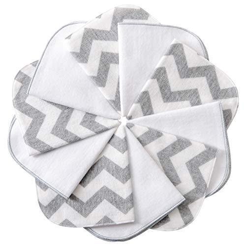 mimaDu Molton Flanell Baby Waschlappen aus 100% OEKO-TEX Baumwolle 10er Set - 25x25 cm - Flanelltücher Kinderservietten - weich und flauschig - (grau weiß Zickzack)