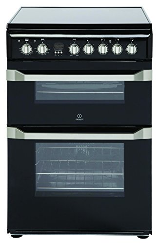 Indesit ID60C2KS 60cm Double Oven Electric Cooker with Ceramic Hob - Black