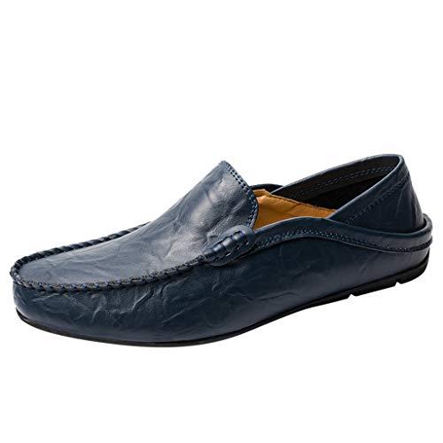 Briskorry Müßiggänger Sommer Beiläufig Elegant Fahrschuhe Klassisch Loafers Bootsschuhe outdoor schuhe atmungsaktive bequeme lederschuhe,Blau