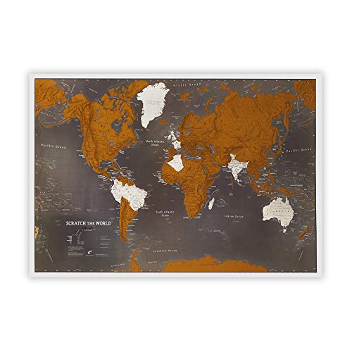 Maps International, Scratch-The-World-Reisekarte, schwarze Weltkarte, Poster zum Freirubbeln, 84 x 59 cm