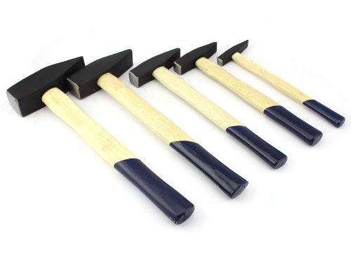Schlosserhammer Satz 5-tlg,Hammer Set 100 + 200 + 300 + 500 + 1500g, Holzstiel