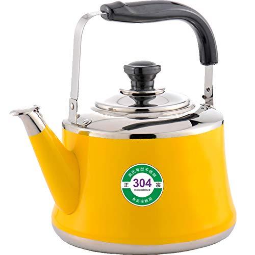 Hokaime Tetera con silbido de Acero Inoxidable - Cafetera de ebullición rápida para el hogar, Mango ergonómico Anti-escaldado para Todas Las Estufas, 1L, Amarillo
