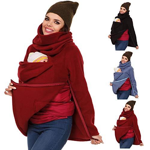 CRGL Maternidadportabebé Abrigo Premamá Mama SudaderaMujer Canguro Chaqueta Outwear Otoño Invierno Portador De Bebé,Rojo,XXL
