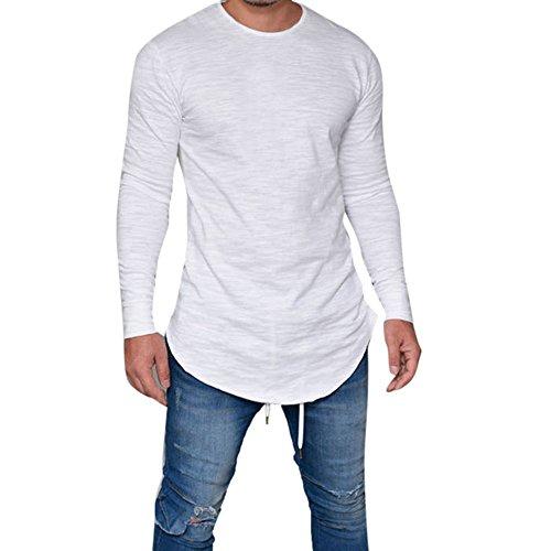 DAY.LIN T Shirt Herren Männer Slim Fit O Hals Lange Ärmel Muskel Abschlag  T-Shirt Lässige Tops Bluse Herren Rundhalsausschnitt Lässige Muscle Slim Solid Color Langarm-T-Shirt (Weiß, L=EUM)