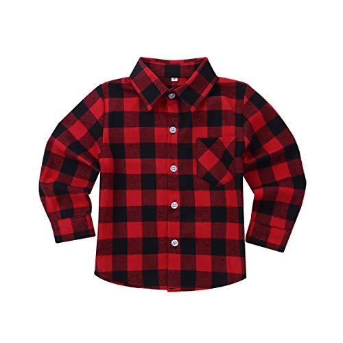 Freebily Unisexo Camisa de Cuadros Algodón Infántil para Niños Niñas Blusa Top de Cuello Clásico Casual con Bolsillo Frente Rojo A 18-24 Meses