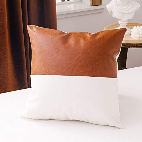 YANJHJY 1 Pieza Funda de cojín de algodón de Piel sintética marrón, 45x45 cm / 35x50 cm para sofá Cama decoración del hogar Funda de Almohada, 1 Pieza C