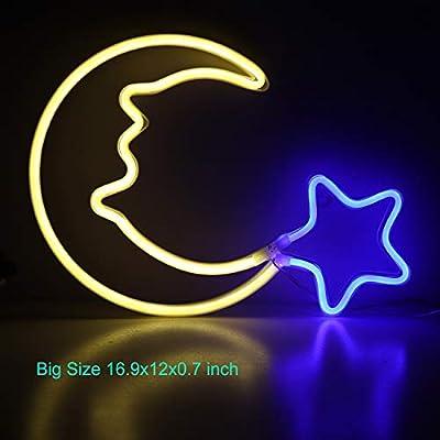 Moon Neon Light Blue Star Neon Sign USB Powered LED Neon Night Light for Children Wall Art Decorative Lights LED Crescent Moon Neon for Kids' Bedroom Christmas Gift(NEMWWSB)