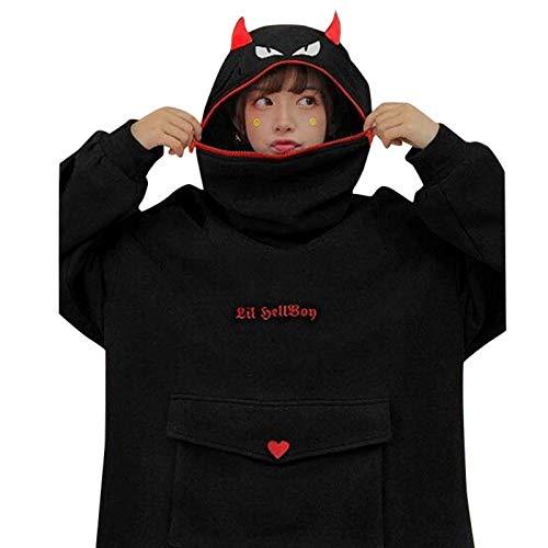Delisouls Sudadera con capucha para mujer, diseño de cara enojada con estampado de dibujos animados, con cremallera y bolsillo frontal grande, suéter suelto con diseño creativo de cremallera