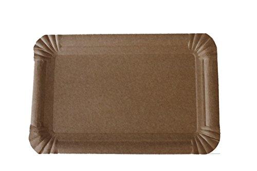 250 Pappteller 13 x 20 cm eckig natur braun Imbiss Einweg Grill Kuchen biologisch abbaubar