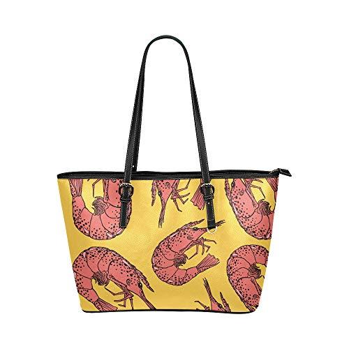 N\A Reise Umhängetaschen für Frauen Essen niedlich köstliche Meeresfrüchte Garnelen Leder Hand Totes Tasche kausale Handtaschen Reißverschluss Schulter Organizer für Lady Girls Damen Geldbörsen