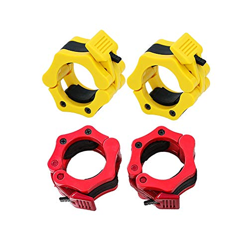 Olympic Barbell Clamps, Quick Release Non-Slip Barbell Collars Clips for 2-Inch Olympic Weight Bar Plate, Lockdown Weight Clamps for Workout Weightlifting Fitness Training (2 Pair/4PCS Red&Yellow)