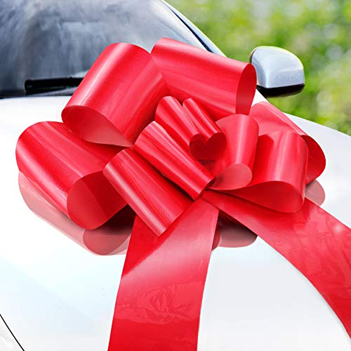 Zoe Deco Big Car Bow (Red, 23 inch, 1 Pack), Gift Bows, Giant Bow for Car, Birthday Bow, Huge Car Bow, Car Bows, Big Red Bow, Bow for Gifts, Christmas Bows for Cars, Gift Wrapping, Big Gift Bow