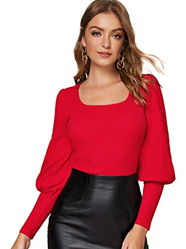 SheIn Women's Solid Scoop Neck Blouse Leg-of-Mutton Long Sleeve Tee Tops Red Medium