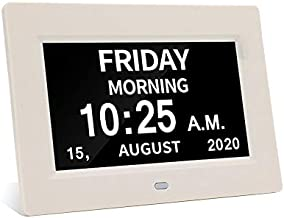Digital Calendar Day Clock Photo Frame- Auto Dimmable Display 12 Alarm Options,Extra Large Impaired Vision Digital Clock with Non-Abbreviated Day & Month Alarm Clock (7 inch White)