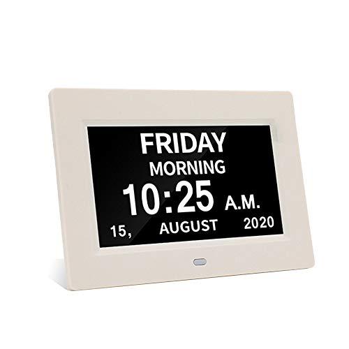 Calendario digital con marco de fotos y calendario – visualización regulable automático 12 opciones de alarma, reloj digital con visión deteriorada extragrande con reloj despertador no abreviado de día y mes (17,78 cm), color blanco