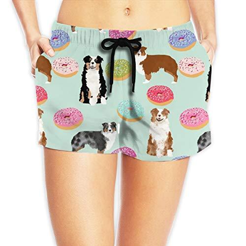 Aussie Dogs Mint Best Doughnuts Cute Beach Swimming Trunks Brief Female Swimsuit Swim Boardshorts for Women Small