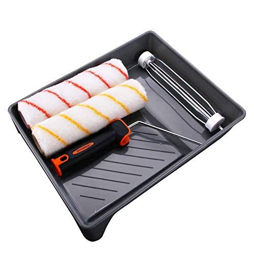 Surmounty Farbroller Set 4Pcs Lackierer Set, Paint Roller Kit inkl. Farbrollerbügel, Farbwalzen, Farbwanne, Renovierung Set zum Dekorieren von Wänden und Zuhause
