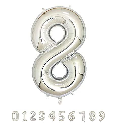 Globos de Cumpleaños Número 8 Plateado - 100cm - Globo de Cumpleaños...