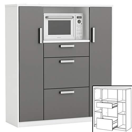 habeig Küchenschrank 8540 weiß anthrazit Singleküche Küchenregal Küchenzeile Schrank