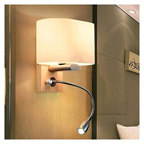 CMMT Lámpara de pared LED moderna minimalista blanco vidrio lámpara de pared madera sombra lámpara de noche lámpara de iluminación 5-10 dormitorio cuadrado sala de estar oficina pasillo pasillo