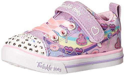 Skechers girls Lighted Twinkle Toes Sneaker, Lavendar/Multi, 7 Toddler US