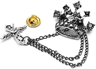 JAGENIE Broche para hombre con diseño de corona de diamantes de imitación, cadena de cruz
